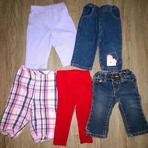 5 pairs of 6-9m baby girl pants jeans ruffle bums